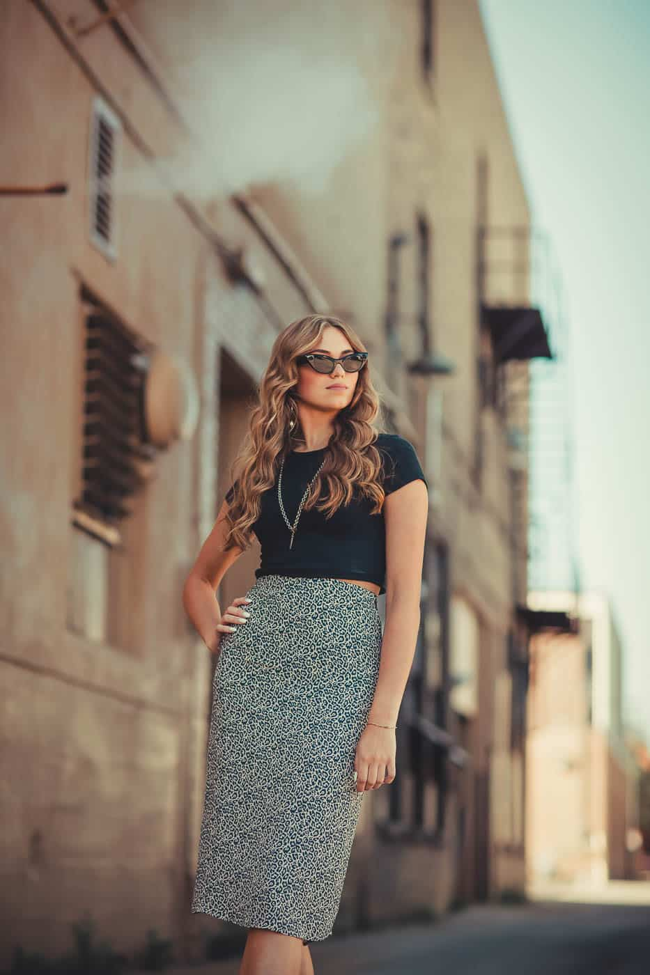 Fashion inspired portrait downtown in alleyway