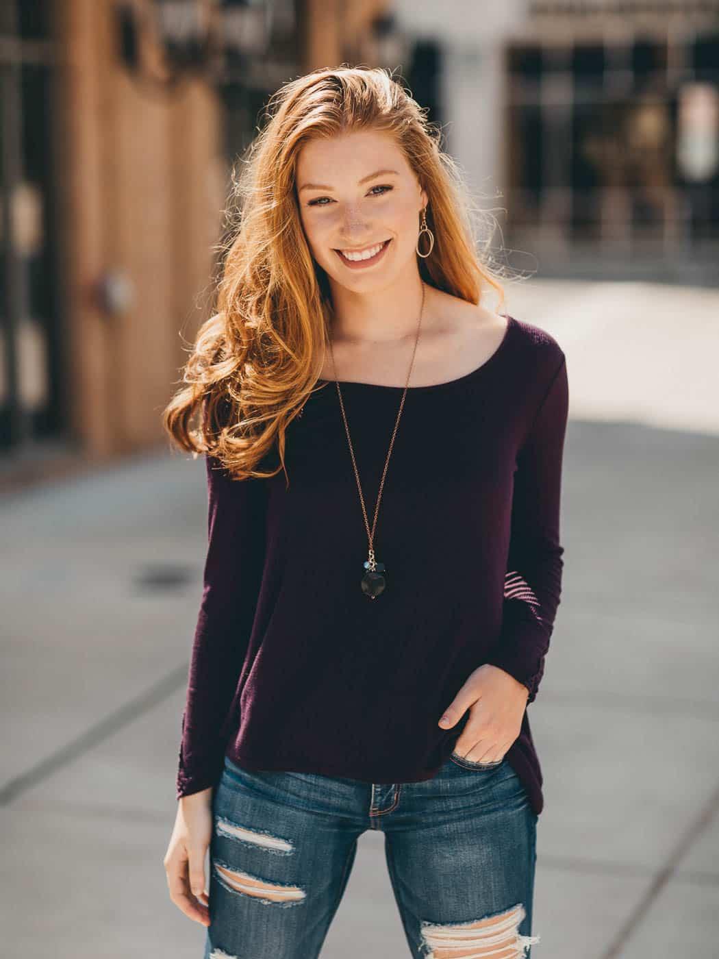 Fun editorial portrait of senior girl