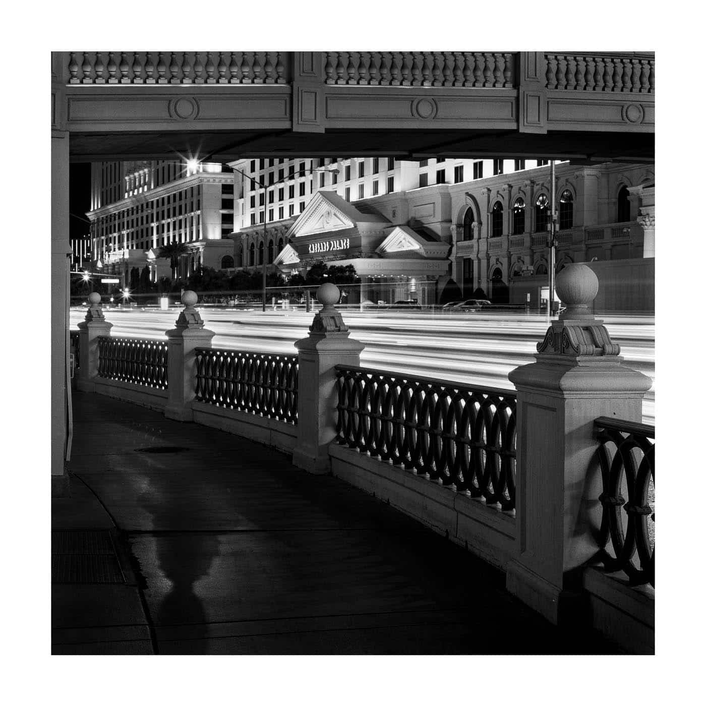 Las Vegas at night with black and white film