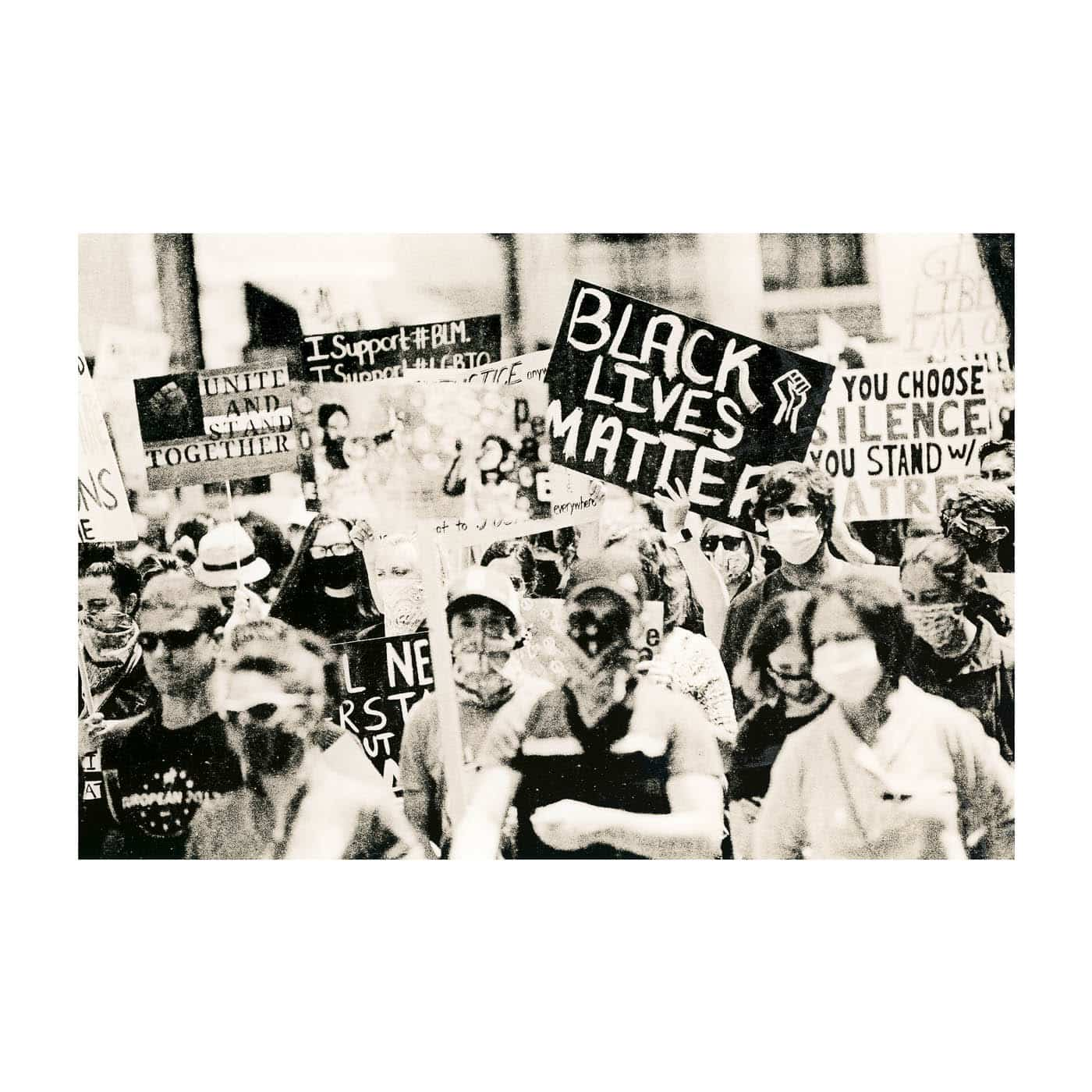 Lith print on Ilford MGWT Fiber Based Paper - Black lives matter protest